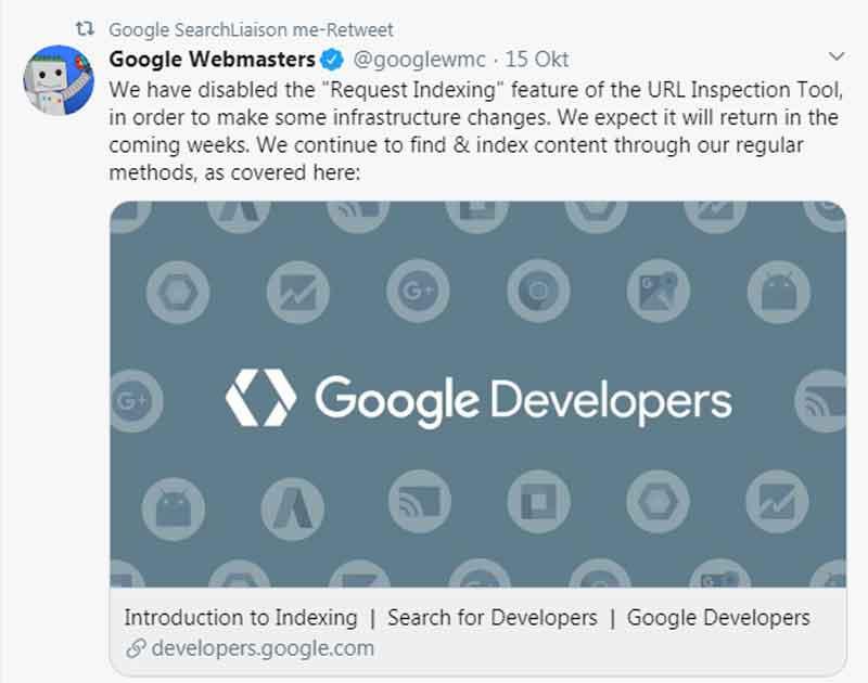 Google menonaktifkan sementara fitur Request Indexing
