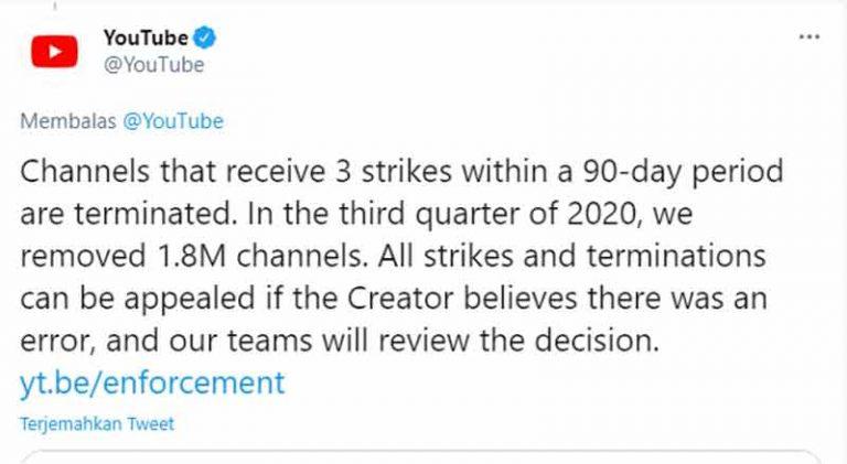 YouTube akan Menutup Channel yang Menerima 3 Teguran Dalam Jangka Waktu 90 Hari